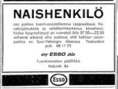 Työpaikkailmoitus Naishenkilö